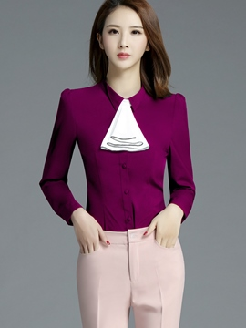 Ericddress Tie Front Detail Slim Blouse
