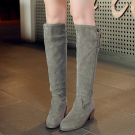 Ericdress Suede Square Hee Knee High Boots