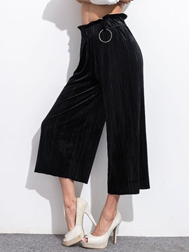 Ericdress Solid Color High-Rise Pants