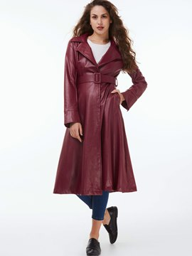 Ericdress Solid Color Slim PU Trench Coat