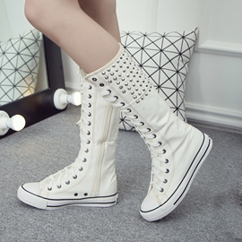 Ericdress Cool Rivets Decoration Canvas Knee High Boots