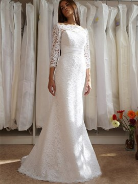 Ericdress Charming Off The Shoulder Sheath Lace Wedding Dress With Sleeves