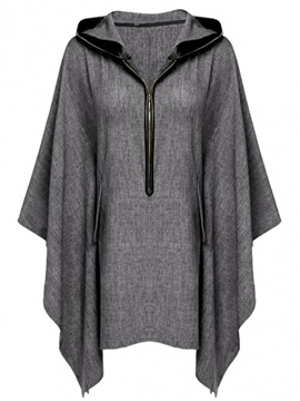 Ericdress Dark Gray Flare Slleve Hooded T-SHirt