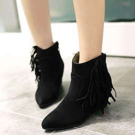 Ericdress Chic Tassels Point Toe Ankle Boots