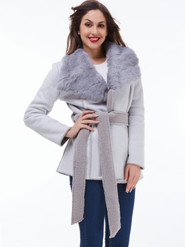 Ericdress Solid Color Faux Fur Collar Coat