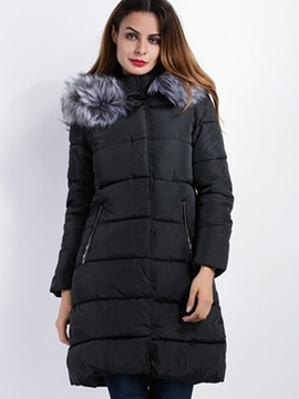 Ericdress Slim Faux Fur Collar European Coat