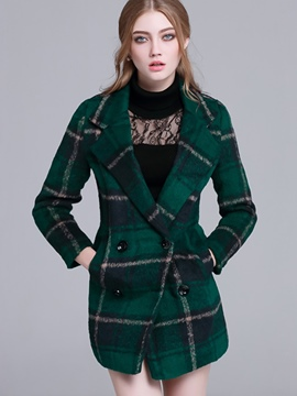 Ericdress Slim Plaid Polo Coat