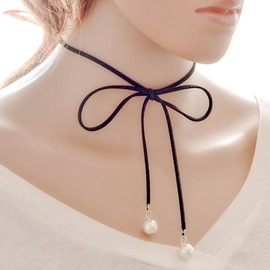 Ericdress Bowknot of Pearl Choker Necklace