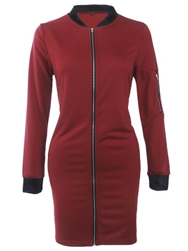 Ericdress Color Block Slim Zipper Long Jacket