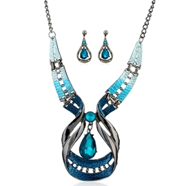 Ericdress Blue Water Droplets Glass Jewelry Set