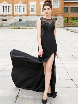 Ericdress Scoop Neck Beading Crystal Split-Front Floor Length Long Evening Dress