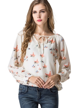 Ericdress Beige Floral Print Blouse