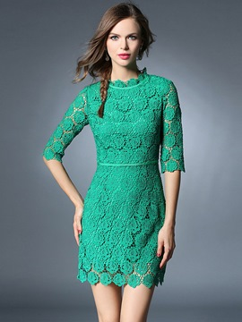 Ericdress Lace Hollow Above Knee Lace Dress