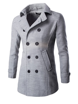Ericdress Lapel Double-Breasted Men's Plain Woollen Overcoat