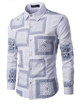 Ericdress Vintage Print Long Sleeve Slim Men's Shirt