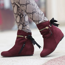 Ericdress Suede Zipper Decorated Elevator Heel Ankle Boots