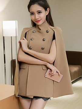 Ericdress Double-Breasted Stand Collar Cape