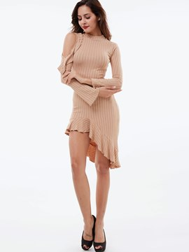 Ericdress Flabala Patchwork Off-The-Shoulder Bodycon Dress