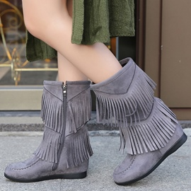 Ericdress Suede Tassels Side Zip Ankle Boots