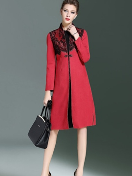 Ericdress Color Block Lace Patchwork Trench Coat