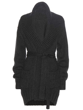 Ericdress Black Belt Cardigan Knitwear