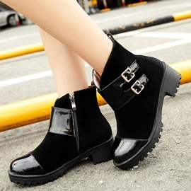 Ericdress Patchwork Buckles Square Heel Ankle Boots