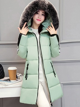 Ericdress Slim Faux Fur Collar Hooded Coat