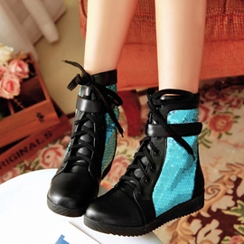 Ericdress Bright Sequins Patchwork Ankle Boots