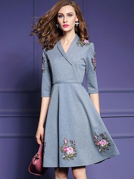 Ericdress Lapel Embroidery Appliques Casual Dress