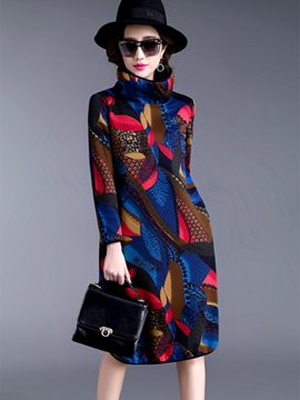 Ericdress Print Turtleneck Patchwork Straight Casual Dress