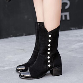 Ericdress Patchwork Rivets Ankle Boots
