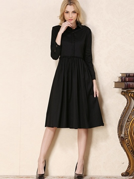 Ericdress Lapel Solid Color Pleated Knee-Length Casual Dress