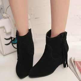 Ericdress Fringe Decorated Point Toe Ankle Boots