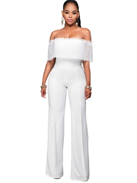 Ericdress Lace Patchwork Slash Neck Jumpsuits Pants