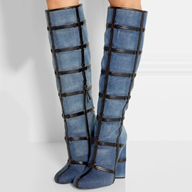 Ericdress Special Denim Buckles Knee High Boots