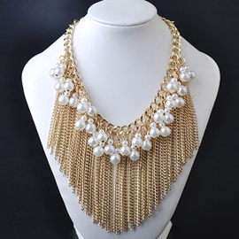 Ericdress Pearl Design Tassels Pendant Necklace