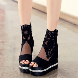Ericdress Lace&mesh Peep Toe Ankle Boots