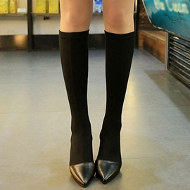 Ericdress Fashion Patchwork Point Toe Knee High Boots