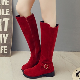 Ericdress Lovely Suede Buckles Knee High Boots