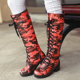 Ericdress Camouflage Lace up Knee High Boots