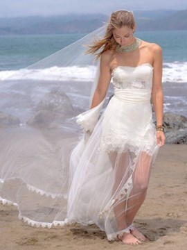Ericdress Beautiful Lace Summer Beach Wedding Dress