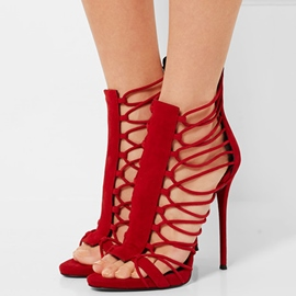 Ericdress Red Cut Out Open Toe Stiletto Sandals