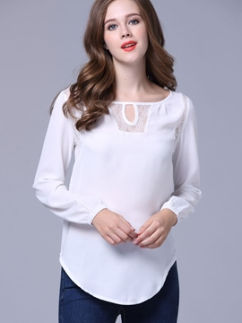 Ericdress White Hollow Front Blouse