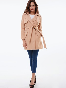 Ericdress Plain Belt Slim Trench Coat