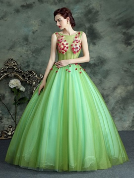 Ericdress Strapless Ball Gown Bowknot Button Pearls Floor-Length Quinceanera Dress