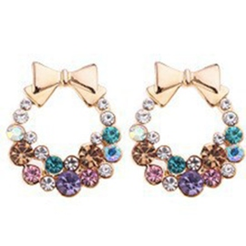 Ericdress Exquisite Bowknot Rhinestone Stud Earrings