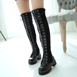 Ericdress Unique Patchwork Lace up Front Knee High Boots