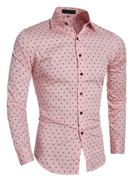 Ericdress Polka Dots Long Sleeve Slim Fit Men's Shirt