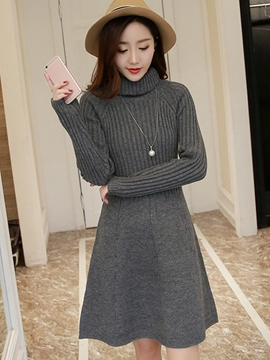 Ericdress Turtleneck Solkid Color A-Line Sweater Dress