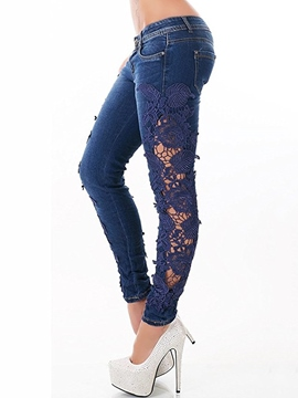 Ericdress Lace Hollow Jeans